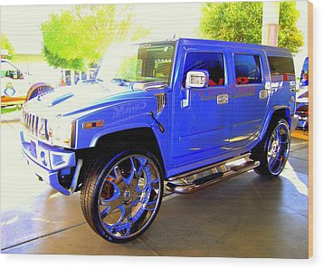Hummer Too Blue Wood Print