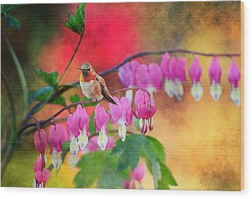 Hummer With Heart Wood Print by Lynn Bauer