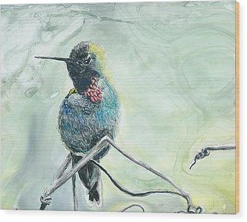 Humming Bird Wood Print by Donna Turbyfill