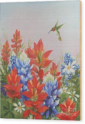 Humming Bird In Wildflowers Wood Print