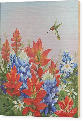 Humming Bird In Wildflowers Wood Print by Jimmie Bartlett