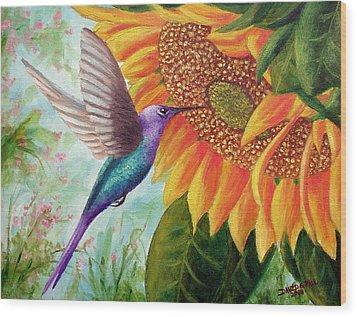 Humming For Nectar Wood Print by David G Paul