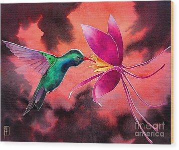 Hummingbird And Columbine Wood Print