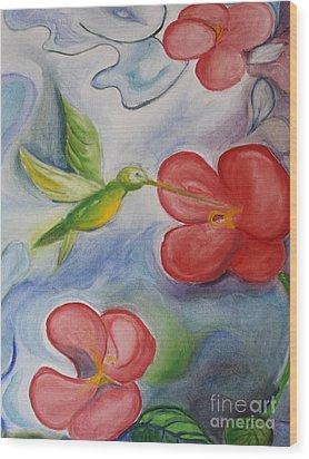 Hummingbird And Hibiscus Wood Print by Teresa Hutto