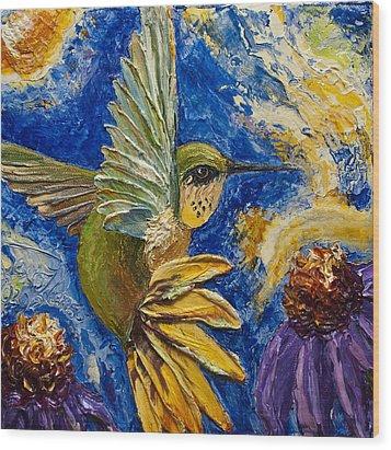 Hummingbird And Purple Cone Flowers Wood Print by Paris Wyatt Llanso