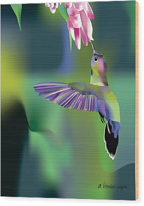 Wood Print featuring the digital art Hummingbird by Arline Wagner