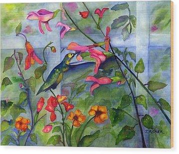 Hummingbird Dance Wood Print