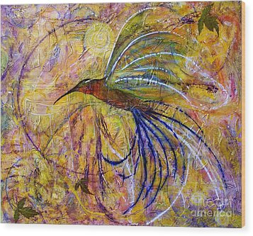 Wood Print featuring the painting Hummingbird Don't Fly Away by Jane Chesnut