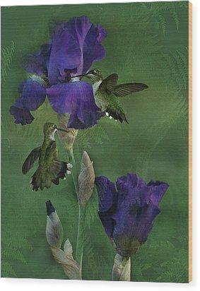 Hummingbird Gathering Wood Print