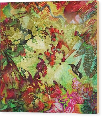 Hummingbird In Flower Heaven - Square Wood Print