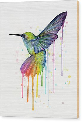Hummingbird Of Watercolor Rainbow Wood Print