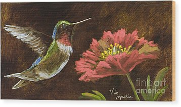 Hummingbird With Gold Leaf By Vic Mastis Wood Print by Vic  Mastis