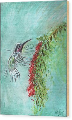Hummingbird Bird Wood Print by Remy Francis