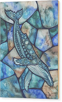 Humpback Whale Wood Print by Tamara Phillips