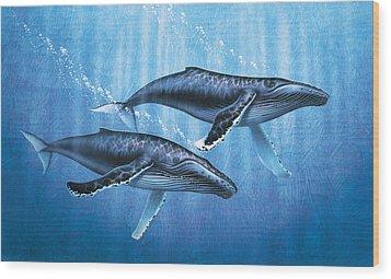 Humpback Whales Wood Print by JQ Licensing