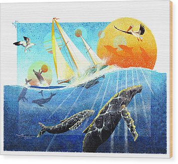 Humps In The Sea Wood Print