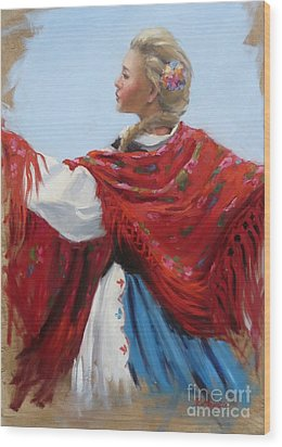 Hungarian Folk Dancer Wood Print