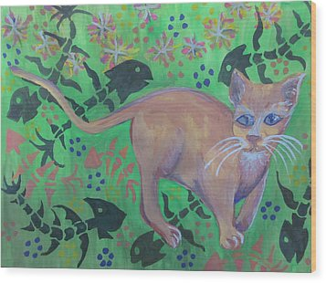 Hungry Cat Wood Print by Cherie Sexsmith