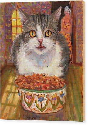 Hungry Cat Wood Print