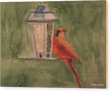 Hungry Red Wood Print by Betty Pimm