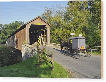 Hunseckers Mill Covered Bridge Wood Print by Dan Myers