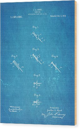 Hunt Push Pin Patent Art 1914 Blueprint Wood Print by Ian Monk