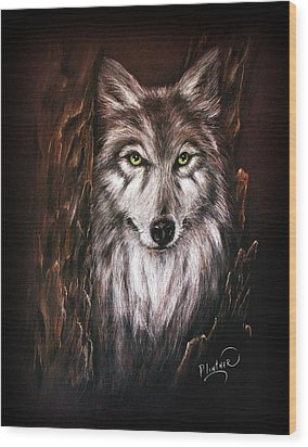 Wood Print featuring the drawing Hunter In The Night by Patricia Lintner