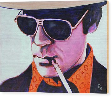 Wood Print featuring the painting Hunter S Thompson by Bob Baker