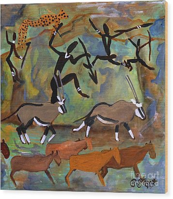 Hunters And Gemsbok Rock Art Wood Print by Caroline Street