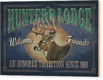 Hunters Lodge Deer Wood Print by JQ Licensing