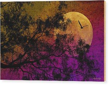 Hunter's Moon Wood Print by Karen Slagle