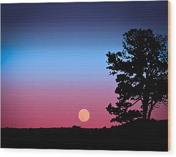 Wood Print featuring the photograph Hunter's Moonrise In Eastern Arizona by John Haldane