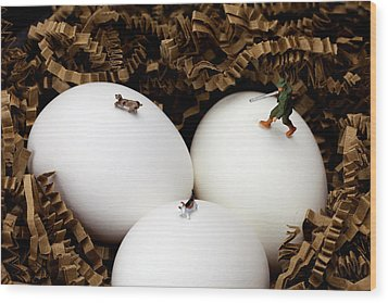 Hunting In Nest Little People On Food Wood Print by Paul Ge