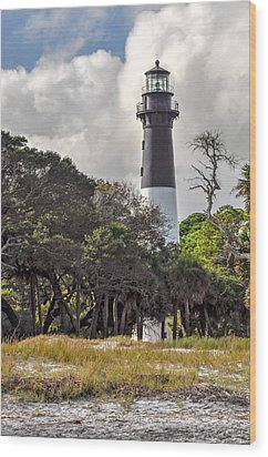 Hunting Island Lighthouse Wood Print by Donnie Smith
