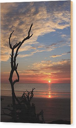 Hunting Island Sunrise Wood Print by Mountains to the Sea Photo