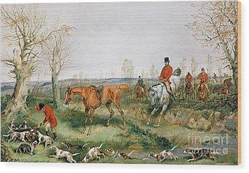 Hunting Scene Wood Print by Henry Thomas Alken