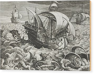 Hunting Sea Creatures Wood Print by Jan Van Der Straet