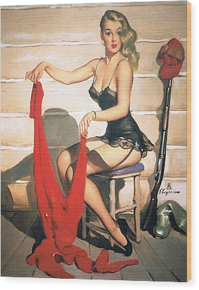 Hunting Time - Retro Pinup Girl Wood Print