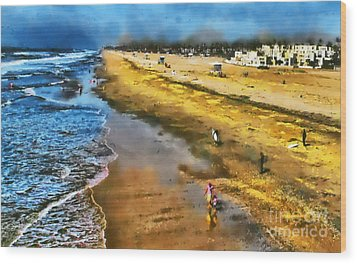 Huntington Beach Wood Print by Clare VanderVeen