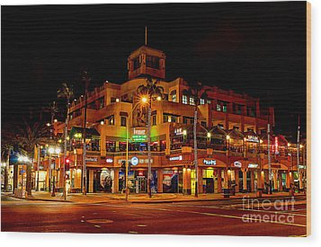 Huntington Beach Downtown Nightside 1 Wood Print by Jim Carrell