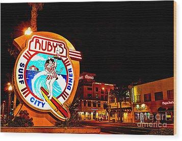 Huntington Beach Downtown Nightside 2 Wood Print