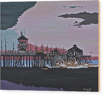 Huntington Beach Pier 1 Wood Print