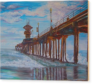 Huntington Beach Pier 2 Wood Print