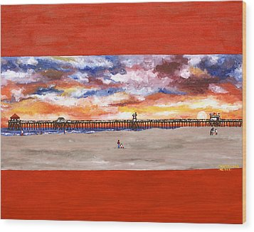 Huntington Beach Pier 3 Wood Print