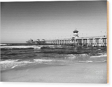 Huntington Beach Pier Black And White Picture Wood Print by Paul Velgos