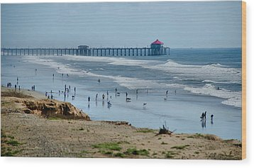 Wood Print featuring the photograph Huntington Beach Pier by Joseph Hollingsworth