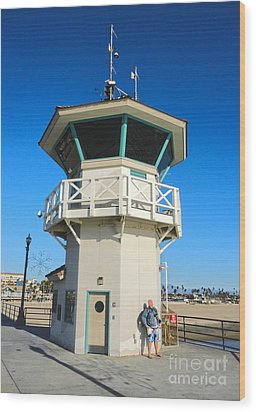 Huntington Beach Pier Lifeguard Tower Wood Print by Gregory Dyer