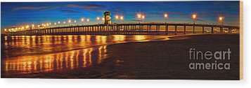 Huntington Beach Pier Twilight Panoramic Wood Print by Jim Carrell