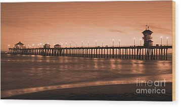 Huntington Beach Pier - Twilight Sepia Wood Print