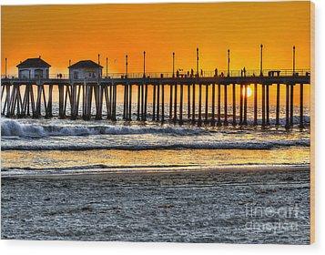 Huntington Beach Sunset Wood Print